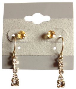 Other Yellow studs, cubic zirconia dangling