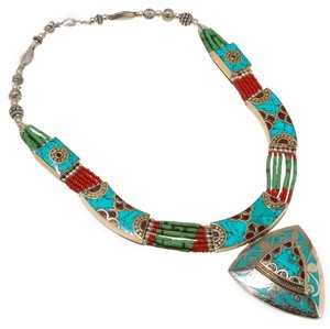 Other 925 STERLING SILVER TIBETAN VINTAGE TURQUOISE CORAL NECKLACE