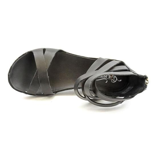 Kenneth Cole Leather Wedge Silver Hardware Black Sandals