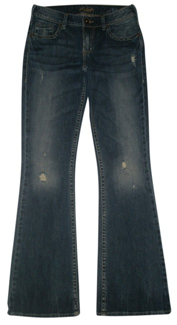 Item - Blue Distressed Aiko 27/33 Flare Leg Jeans Size 27 (4, S)