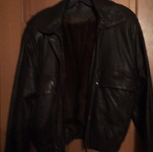 Brown Leather bomber jacket lined with mink Leather Jacket