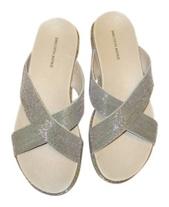 Saks Fifth Avenue Beaded Silver and beige Sandals
