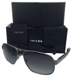 Prada Polarized PRADA Sunglasses SPR 52P 5AV-5W1 61-15 Gunmetal Aviator Frame w/ Grey Gradient Lenses