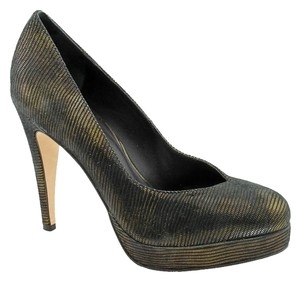 Rebecca Minkoff Suede Platform Metallic Black Bronze Pumps