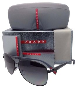 Prada New Polarized PRADA Sport Sunglasses SPS 51O 7AX-5W1 62-14 Black Aviator Frame w/ Gray Lenses