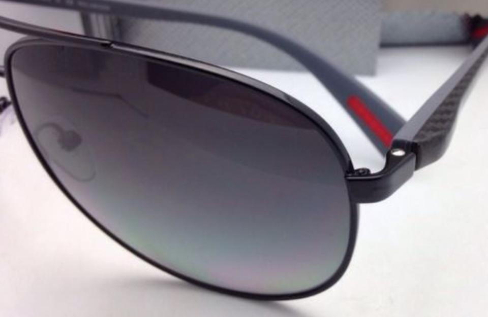 e6f87cff3a New Polarized PRADA Sport Sunglasses SPS 51O 7AX-5W1 62-14 Black Aviat.