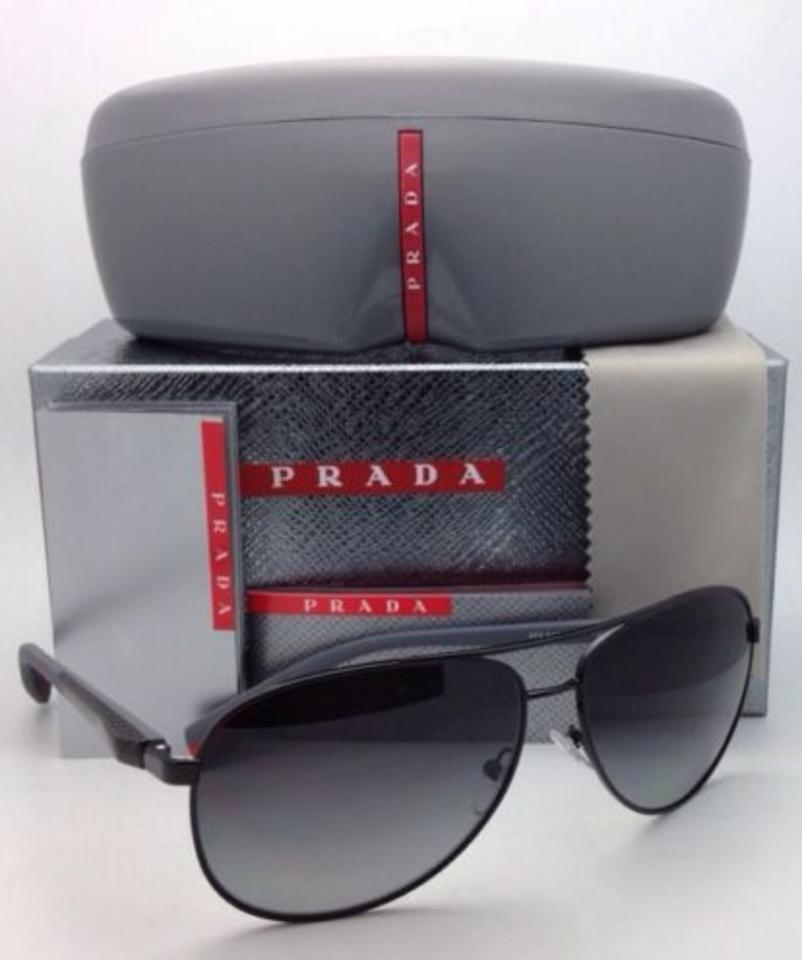 2e43b40f2e9 Prada Sps 51o 7ax-5w1 Black Aviator Frame W  Gray Lenses New Polarized  Sunglasses - Tradesy