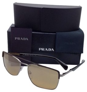 Prada New PRADA Sunglasses SPR 50Q LAH-2C2 58-18 Brown & Gunmetal Aviator Frame w/Mirror