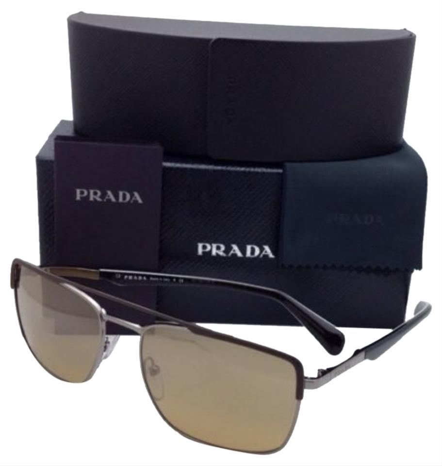 374f7a26b2e Prada New PRADA Sunglasses SPR 50Q LAH-2C2 58-18 Brown   Gunmetal Aviator  ...