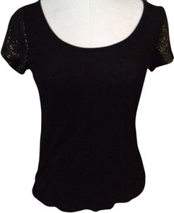 StyleMint Sparkle Glitter Sequin Gold Sleeves Gold T Shirt black