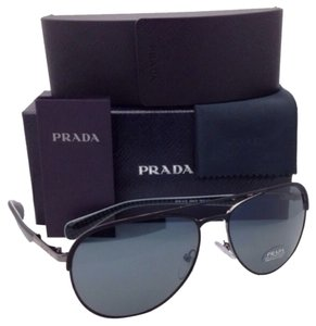 Prada New PRADA Sunglasses SPR 51Q 1BO-0A9 59-16 Black & Gunmetal Aviator Frame w/ Grey Lenses