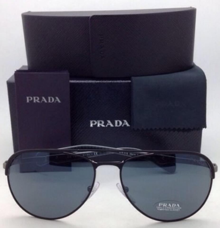 5a8c8781fe ... amazon prada spr 51q 1bo 0a9 black gunmetal frame w grey lenses new 59  16 aviator france prada sunglasses ...