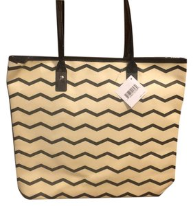 Macy's Beige And Black Beach Bag