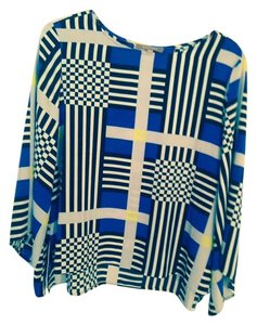 Ellen Tracy Top Black, white and blue multi
