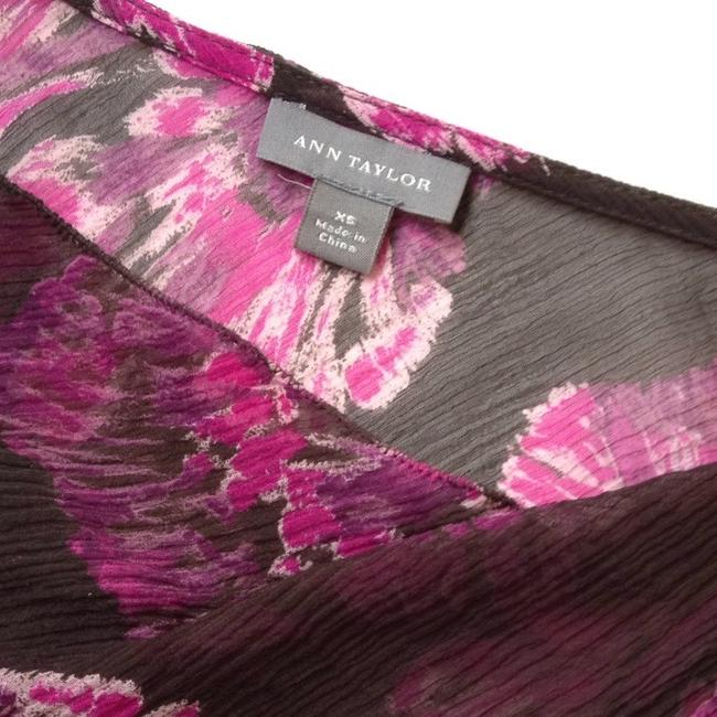 Ann Taylor Top Chocolate Brown & Orchid