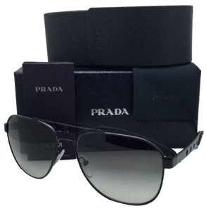 Prada New PRADA Sunglasses SPR 51R 1BO-0A7 60-16 Matte Black Aviator Frame w/ Grey Gradient Lenses