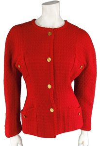 Chanel 90s 80s Tweed Cardigan Cinchwaist Red Jacket