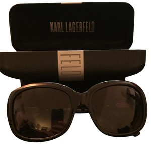 Karl Lagerfeld Black Plastic Rectangle Sunglasses