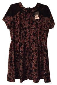 Topshop short dress Black Mulit Lace Trim Peter Pan Collar Pleated Skirt Floral Print Machine Washable on Tradesy