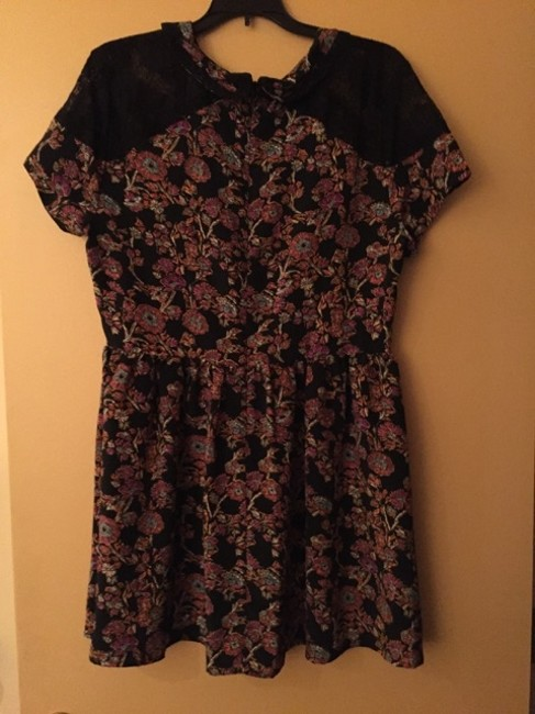 Topshop short dress Black Mulit Lace Trim Peter Pan Collar Pleated Skirt Floral Print Machine Washable on Tradesy Image 4