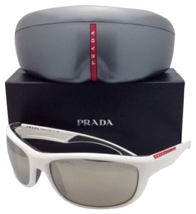 Prada New PRADA Sunglasses SPS 04N AAI-1C0 65-17 White & Grey Frames w/Mirrored Lenses