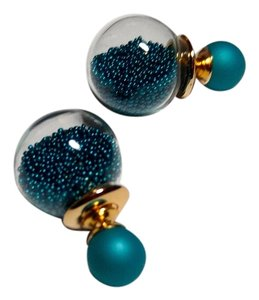 Other New Double Sided Ball Stud Earrings Teal Gold Tone J1865