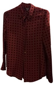 Madewell Top Maroon and Black