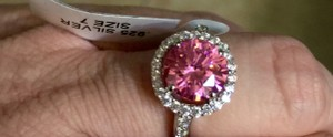 Other Brand New Ring Pink CZ halo .. very sparkling