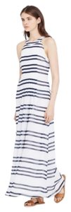White with navy stripes. Maxi Dress by Ann Taylor