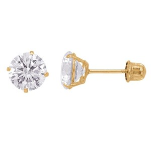 14k Yellow Gold Earrings 1.70 Ct 6mm Cubic Zirconia Earrings Screw Back