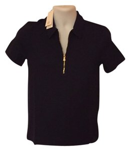 Tory Burch T Shirt Navy with Gold Zipper