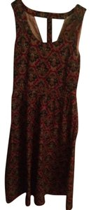 Ruche short dress Red, maroon, brick Retro Mod Paisley on Tradesy
