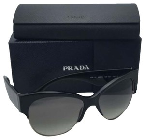 Prada New PRADA Sunglasses SPR 11R 1AB-0A7 56-16 Black & Gold Frame w/ Grey Gradient Lenses