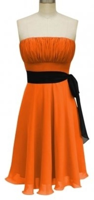 Preload https://img-static.tradesy.com/item/108522/orange-strapless-chiffon-pleated-bust-w-sash-sizesmall-knee-length-cocktail-dress-size-2-xs-0-0-650-650.jpg