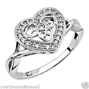 14k White Gold Heart Cubic Zirconia Promise Ring Band Size 7