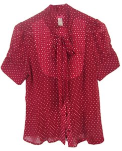 DownEast Basics Top Red w/ polka dots