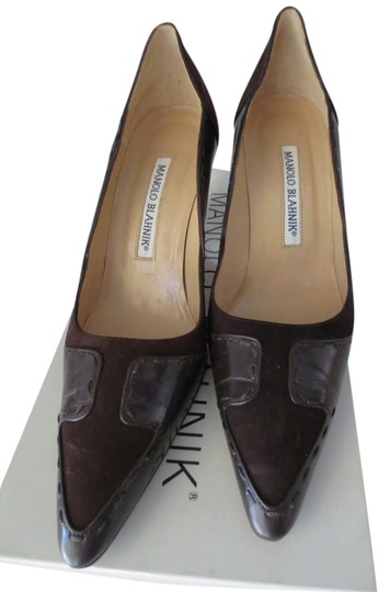 Manolo Blahnik Brown Suede Pumps