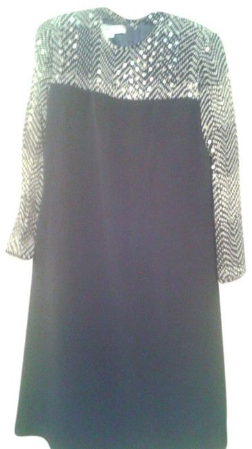 Preload https://img-static.tradesy.com/item/10852945/black-with-sparkly-polka-dot-sleeves-and-top-knee-length-night-out-dress-size-8-m-0-1-650-650.jpg