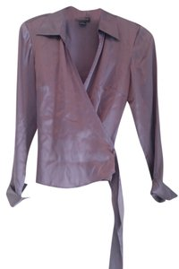 Ann Taylor Longsleeve Silk Top Purple