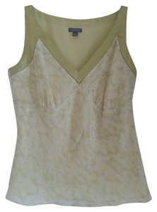 Ann Taylor Silk V-neck Sleeveless Top pale lime green