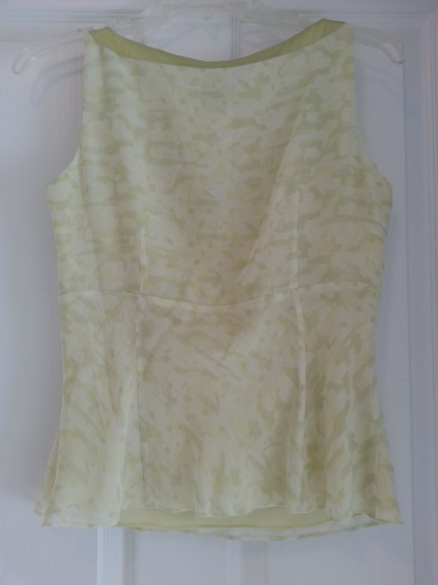 Ann Taylor Camisole Silk V-neck Sleeveless Top pale lime green Image 3