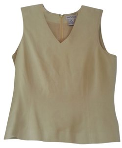 Ann Taylor Sleeveless Silk Top pale lime green