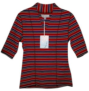 Carolyn Taylor Top Red Combo Stripe