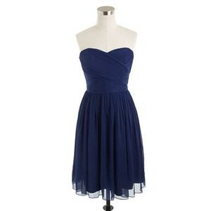 J.Crew Dark Cove (Navy) Silk Chiffon Arabelle Formal Bridesmaid/Mob Dress Size 14 (L)