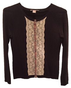 Rebecca Taylor Lace Trim Beaded Rhinestones Sweater