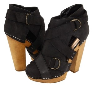 Steven by Steve Madden Boots Geema Leather Black Platforms