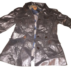 Tory Burch Dark Silver Leather Jacket