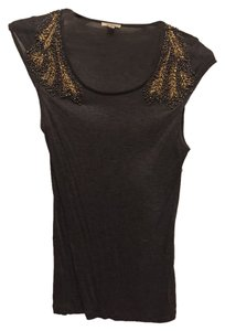 Bordeaux Beaded Anthropologie Top Gray