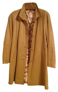 Sergio Rossi Leather Coat Beige Tan Nude Leather Jacket