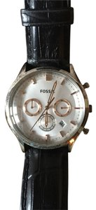 Fossil Fossil leather watch with multiple time zones